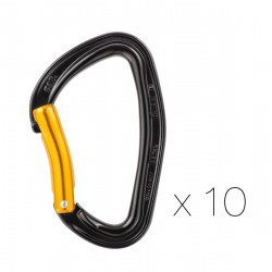 M60APS B / Pack of 10 DJINN STEEL Pack of ten carabiners for climbing gyms or for working routes PETZL