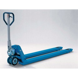PROLINE Hand pallet truck with extended forks and increased capacity PFAFF silberblau