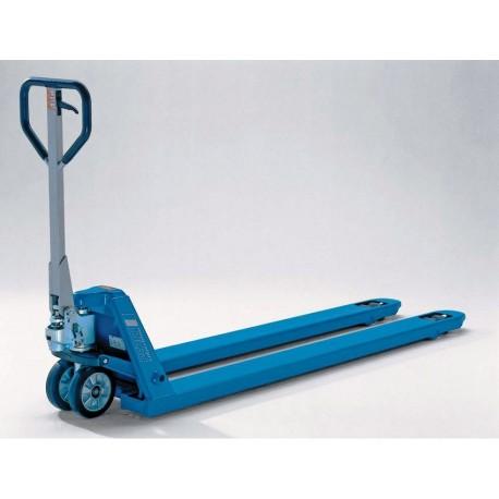 PROLINE Handgabelhubwagen  mit langen Gabeln und erhöhter Tragfähigkeit PFAFF silberblau