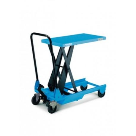 HF-SM Plattformwagen, verfahrbar mit Einfachschere und manueller Hydraulik PFAFF silberblau