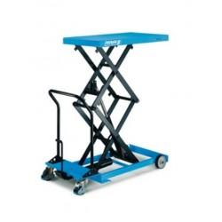 HF-DM Scissor elevating platform, mobile with double vertical scissor - manual hydraulic model PFAFF silberblau