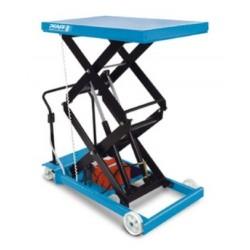HF-DE Plattformwagen, verfahrbar mit Doppel-Vertikalschere Elektrohydraulikaggregat Modell  PFAFF silberblau